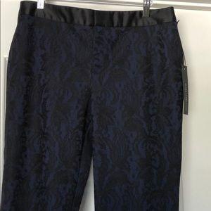 Chico's Black label black lace over navy pant.